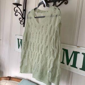 Xzyzzy   Green Woven Sweater Top